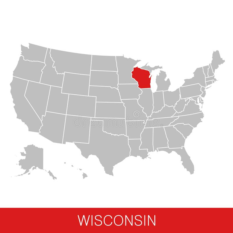 Amerikas förenta stater med tillståndet av Wisconsin valde översikt USA stock illustrationer