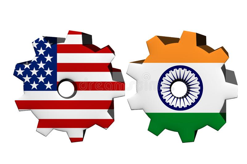 Amerikas förenta stater och Indien som tillsammans arbetar royaltyfri illustrationer