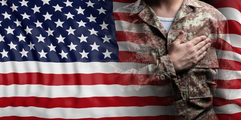 Amerikas förenta stater sjunker och tjäna som soldat med handen på hans hjärta illustration 3d vektor illustrationer