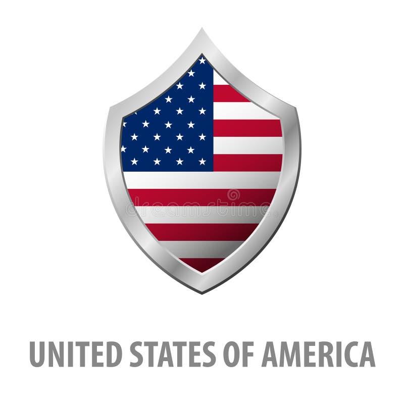 Amerikas förenta stater USA flagga på skinande sköldillustration för metall stock illustrationer