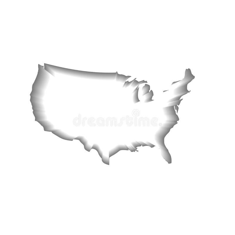 Amerikas förenta stater USA, vit översiktskontur med inre skugga som isoleras på vit bakgrund också vektor för coreldrawillustrat royaltyfri illustrationer