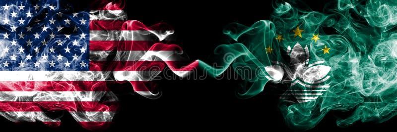 Amerikas förenta stater vs Macao, Kina rökiga mystikerflaggor förlade sidan - vid - sidan Tjocka kulöra silkeslena rökflaggo vektor illustrationer