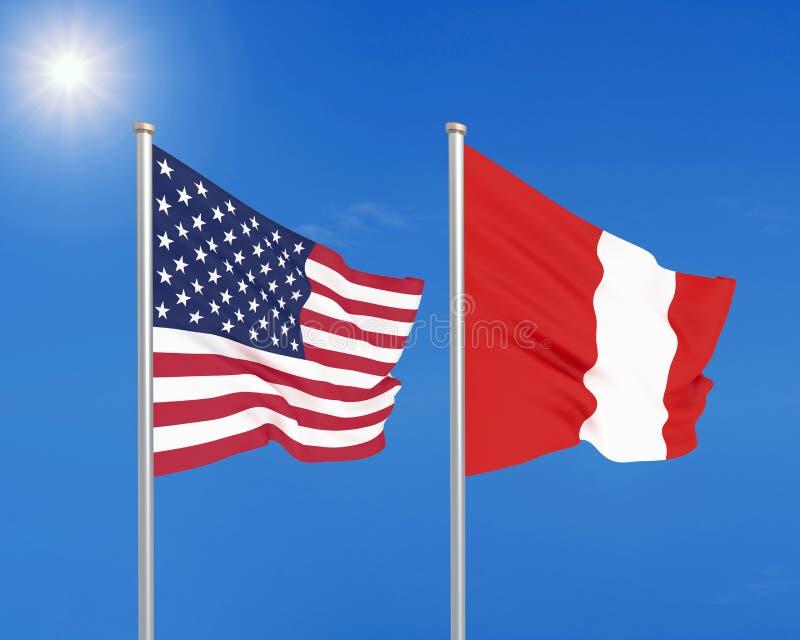 Amerikas förenta stater vs Peru Tjocka kulöra silkeslena flaggor av Amerika och Peru illustration 3D p? himmelbakgrund konst teck royaltyfri illustrationer