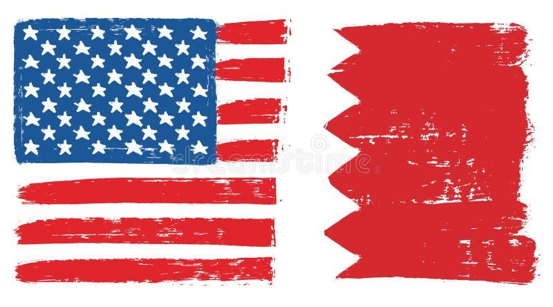Amerikas förenta staterflagga & hand för Bahrain flaggavektor som målas med den rundade borsten stock illustrationer