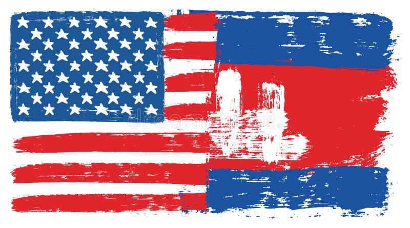 Amerikas förenta staterflagga & hand för Cambodja flaggavektor som målas med den rundade borsten royaltyfri illustrationer