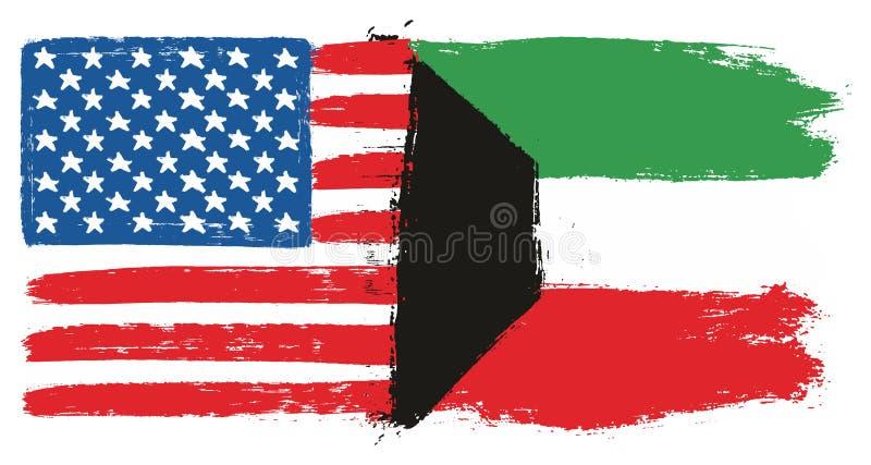 Amerikas förenta staterflagga & hand för Kuwait flaggavektor som målas med den rundade borsten royaltyfri illustrationer