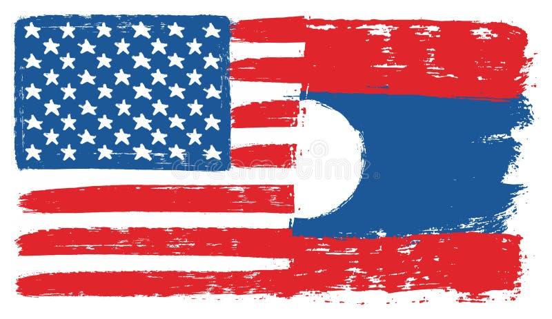 Amerikas förenta staterflagga & hand för Laos flaggavektor som målas med den rundade borsten stock illustrationer