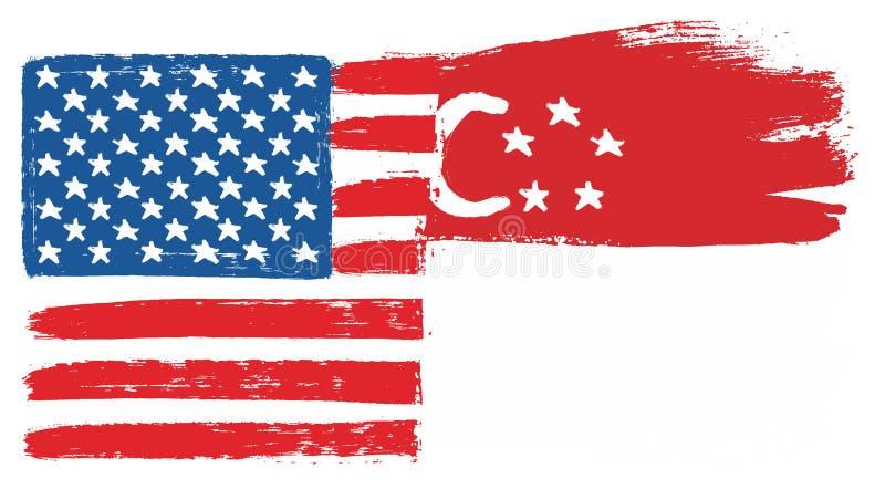 Amerikas förenta staterflagga & hand för Singapore flaggavektor som målas med den rundade borsten royaltyfri illustrationer