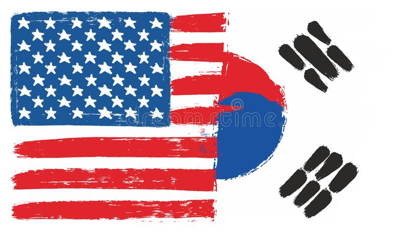 Amerikas förenta staterflagga & hand för Sydkorea flaggavektor som målas med den rundade borsten stock illustrationer