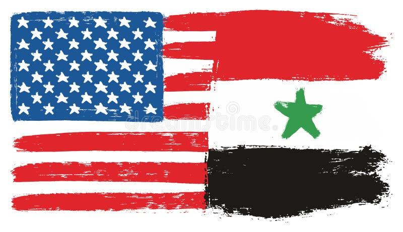 Amerikas förenta staterflagga & hand för Syrien flaggavektor som målas med den rundade borsten stock illustrationer