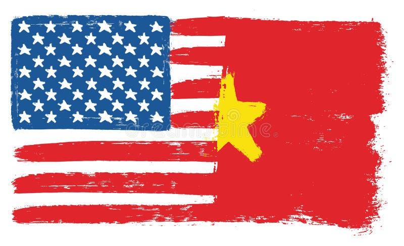 Amerikas förenta staterflagga & hand för Vietnam flaggavektor som målas med den rundade borsten vektor illustrationer