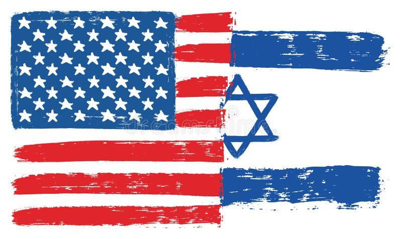 Amerikas förenta staterflagga & Israel Flag Vector Hand Painted med den rundade borsten vektor illustrationer