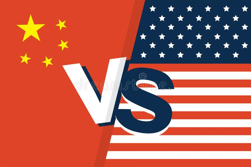 Amerikas förenta staterflaggan och Kina sjunker tillsammans två flaggor vänder mot - - vänder mot, symbolet för förhållandet mell vektor illustrationer