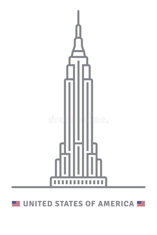 Amerikas förenta statersymbol med Empire State Building och USA royaltyfri illustrationer