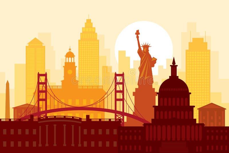 Amerikas f?renta stater USA, gr?nsm?rken, stads- horisont royaltyfri illustrationer