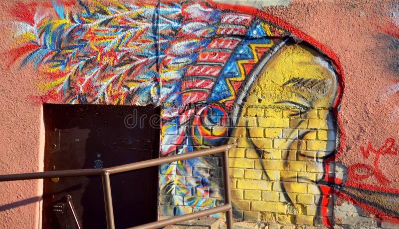 Amerindian mural photo stock