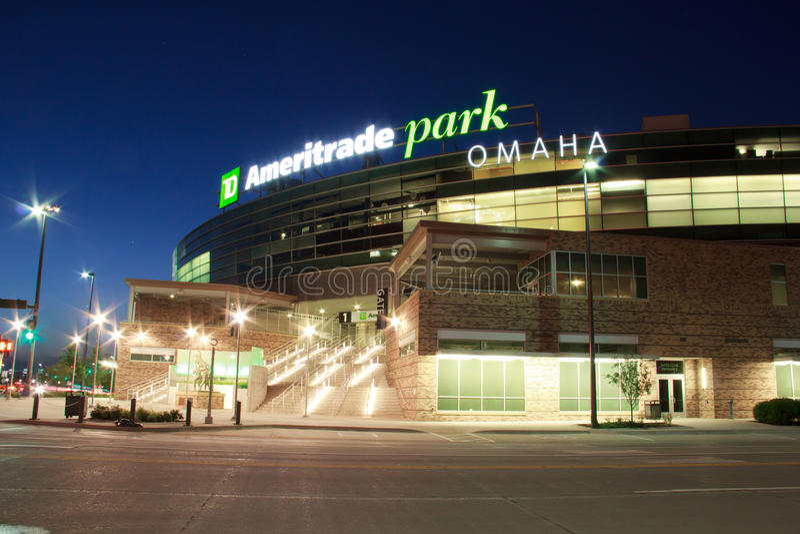 Ameritrade parkerar i i stadens centrum Omaha royaltyfri foto