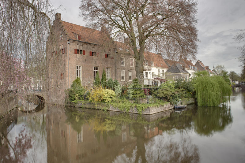 Amersfoort Moat. This moat runs around the ancient city of Amersfoort. Established in 1259, the city center has been somewhat preserved. Early in the morning royalty free stock photos