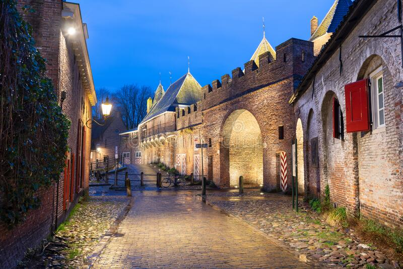 Amersfoort, Netherlands at the Koppelport at dawn. Amersfoort, Netherlands at the historic Koppelpoort at dawn stock photography