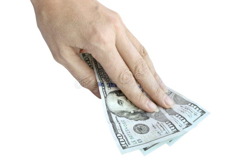 Amerykańscy dolarowi rachunki w ręce 100 dolarowych rachunk?w odizolowywaj?cych fotografia stock