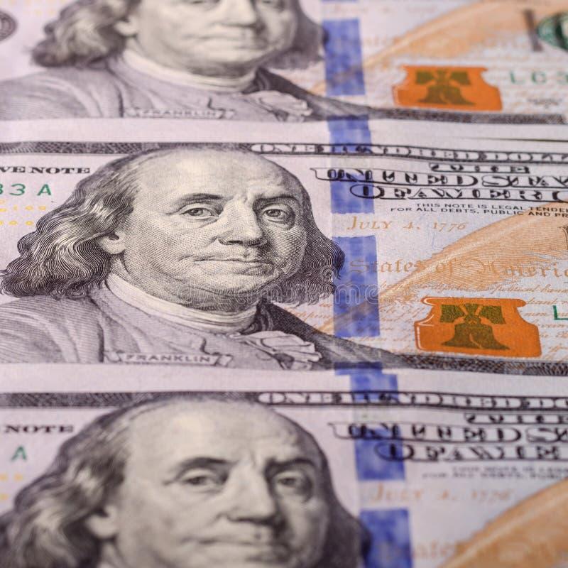 Amerykańscy dolary gotówka, banknotu zakończenie Dużo sto USD zakazów zdjęcia royalty free