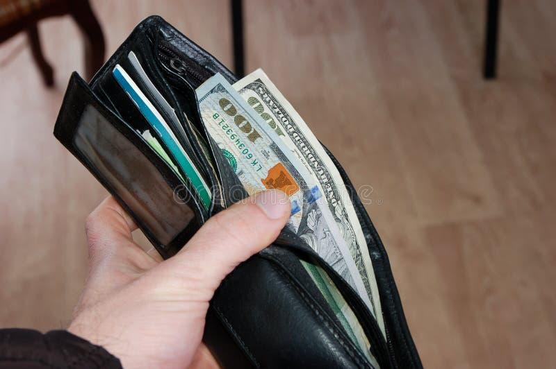 Amerykańscy dolary w mój portflu obraz royalty free
