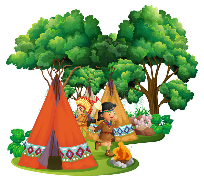 Amerykańscy hindusi przy campsite royalty ilustracja