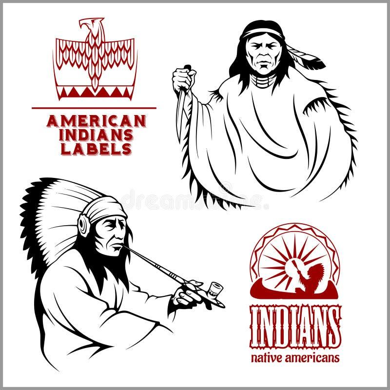 Amerykańscy hindusi ustawiający emblematy, etykietki i logowie w monochromu rocznika, projektują royalty ilustracja