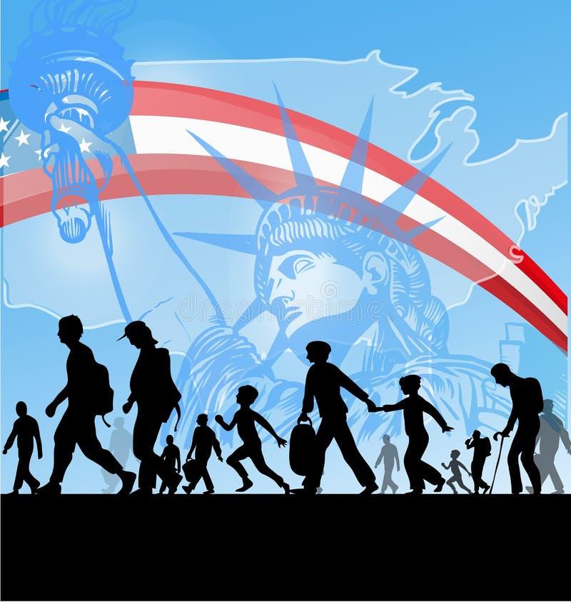 Amerykańscy ludzie imigracyjni ilustracji