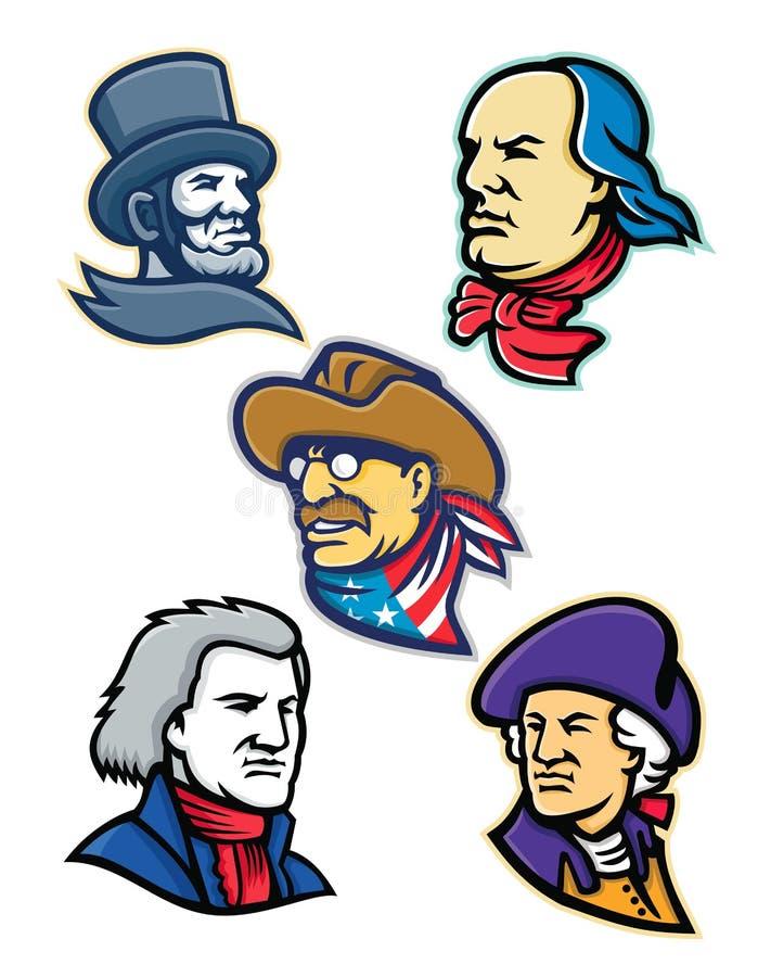Amerykańscy prezydenci i mąż stanu maskotki kolekcja royalty ilustracja