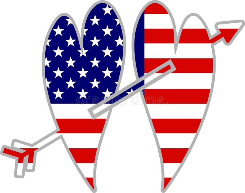 amerykańscy serca royalty ilustracja