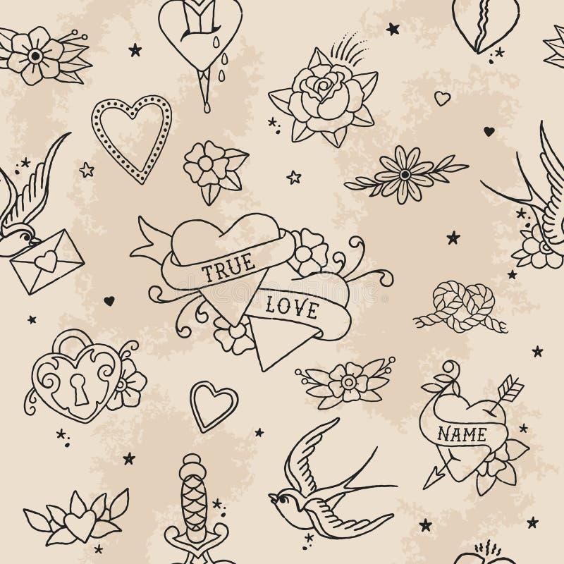 Amerykańscy Tradycyjni Bezszwowi Deseniowi kontur miłości elementy zdjęcia royalty free