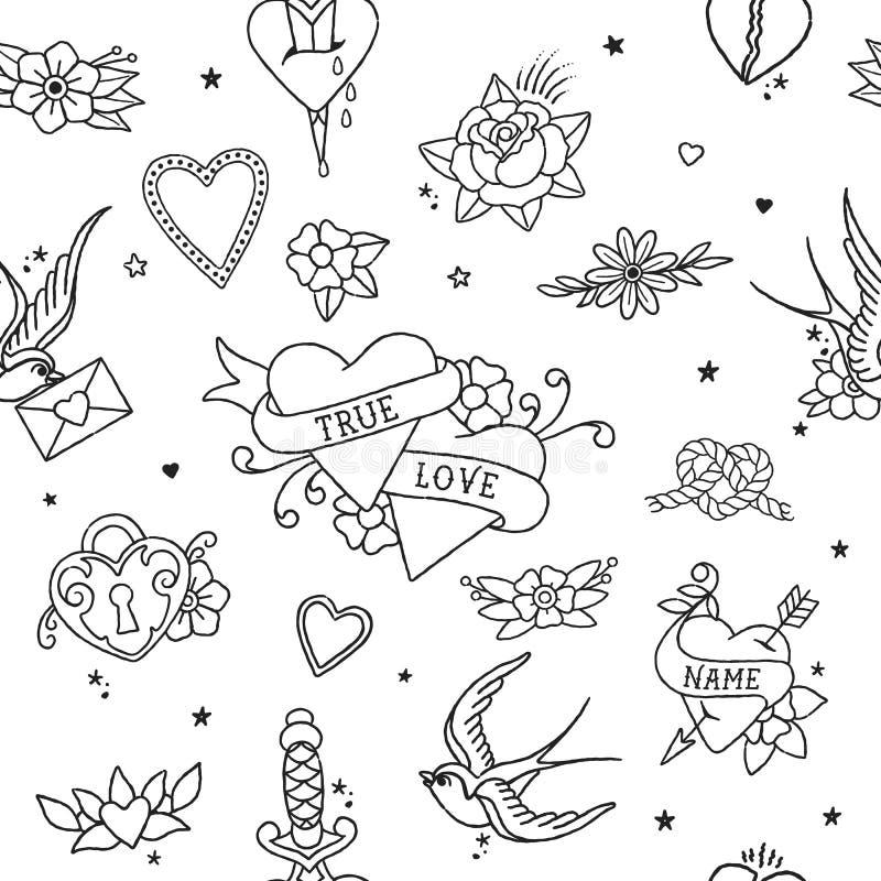 Amerykańscy Tradycyjni Bezszwowi Deseniowi kontur miłości elementy na przejrzystym tle zdjęcie royalty free