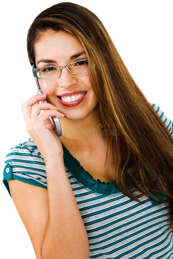 amerykańska łacińska mobilna target778_0_ kobieta obrazy stock