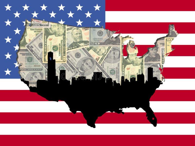amerykańska Chicago flaga mapa ilustracja wektor