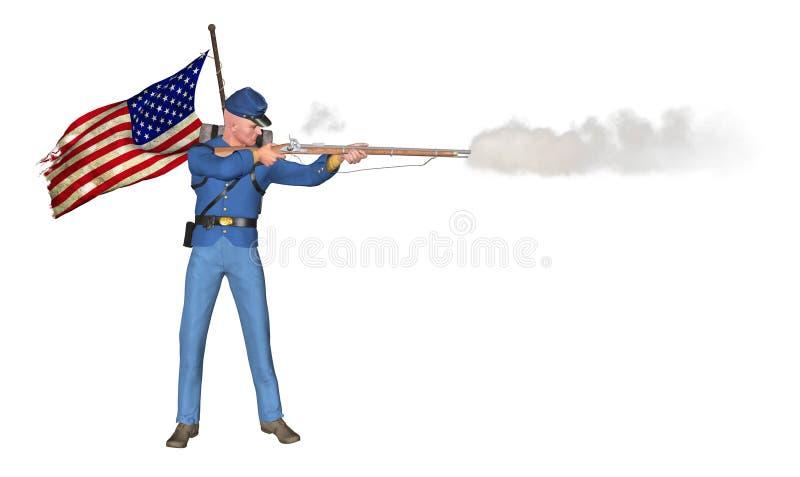 Amerykańska Cywilnej wojny strzelec ostrzału ilustracja ilustracja wektor