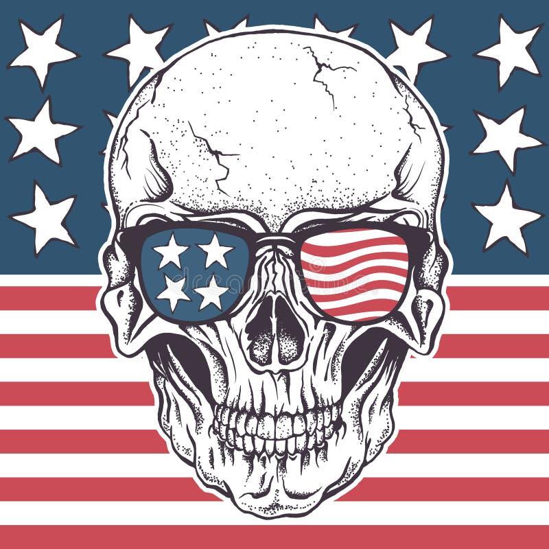 Amerykańska czaszka w okularach przeciwsłonecznych na usa flaga ilustracja wektor