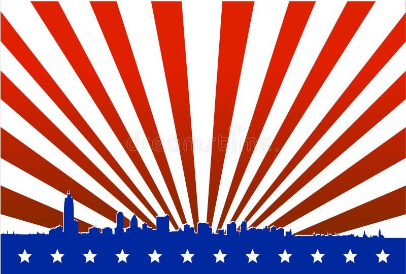 amerykańska duża miasto sylwetka ilustracji