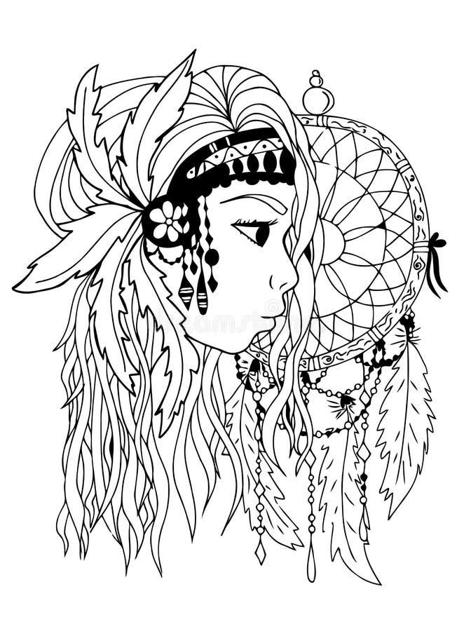 amerykańska dziewczyna hindusi Ręka tonie, czarny i biały Zentangle wektoru wizerunek ilustracji