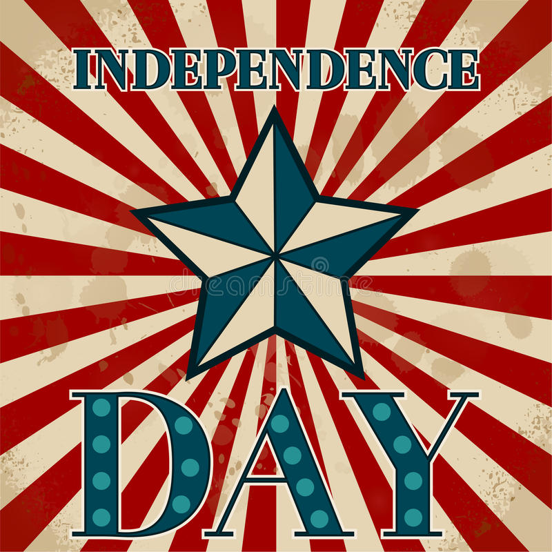 Amerykańska etykietka tła dzień grunge niezależność retro 4 Lipca royalty ilustracja