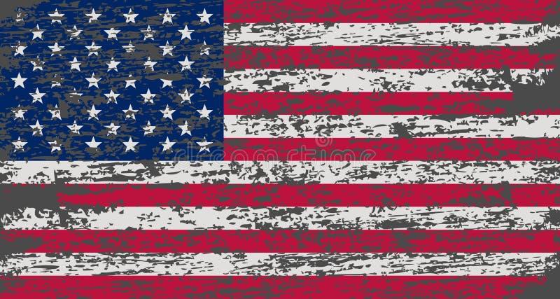 amerykańska flaga Muśnięcie malująca flaga usa Ręka rysująca stylowa ilustracja z grunge akwarelą i skutkiem Flaga amerykańska z ilustracja wektor