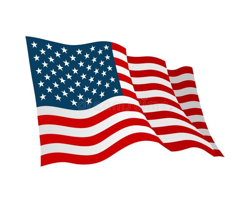 amerykańska flaga Wektorowa płaska kolor ilustracja odizolowywająca na bielu
