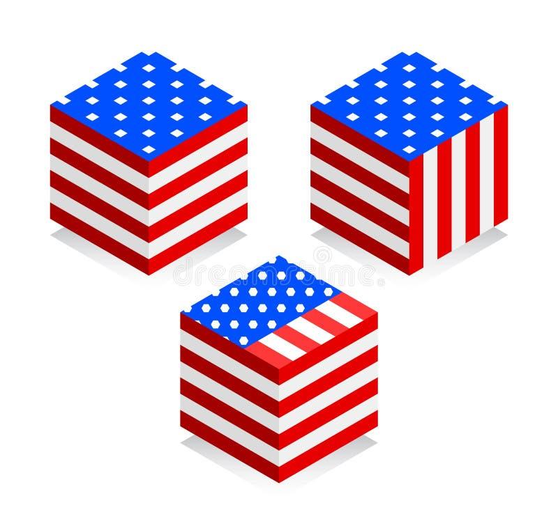 amerykańska flaga Wektorowy wizerunek flaga amerykańska na białym tle 3D stylu ikona Isometric ilustracja ilustracji