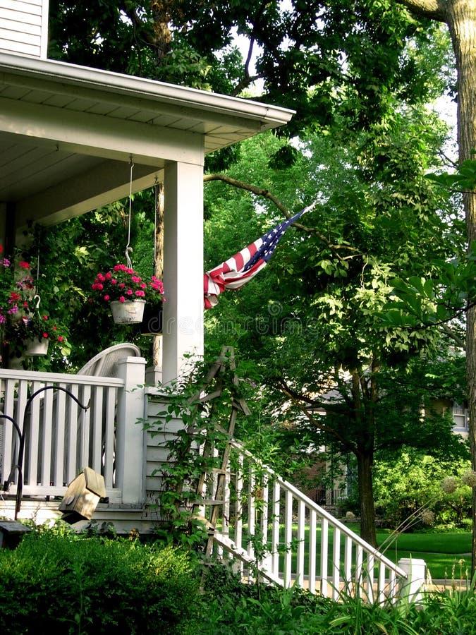 amerykańska flaga werandę zdjęcia royalty free