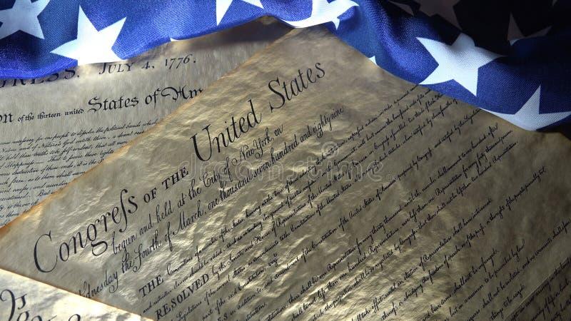 Amerykańska konstytucja i USA flaga obraz royalty free