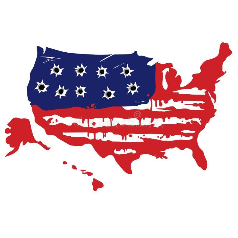 Amerykańska mapa Z dziura po kuli ilustracji