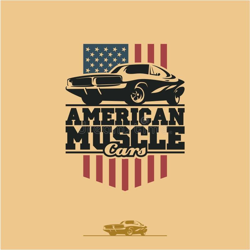 Amerykańska mięśni samochodów etykietka ilustracja wektor