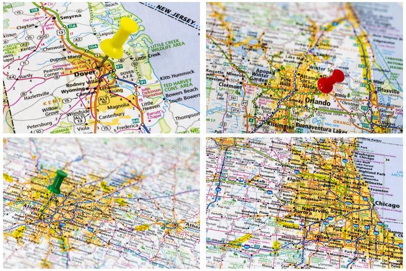 Amerykańska miasto drogowa mapa obraz stock