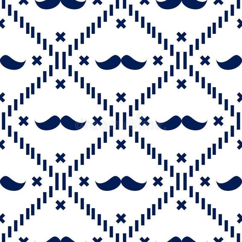 Amerykańska modnisia wąsy tartanu szkocka krata i Argyle Wektorowi wzory w Patriotyczny Błękitny i Białym 4th Lipiec lub ojca dzi royalty ilustracja