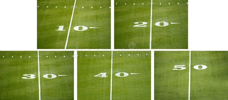 Amerykańska NFL Boiska Piłkarskiego Liczby Linia Markiery obrazy royalty free